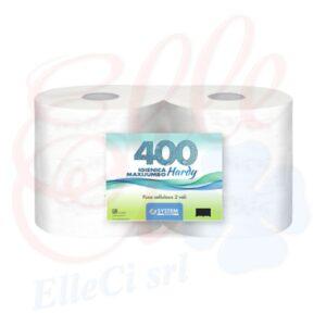 "Carta Igienica Jumbo Maxi ""Hardy"" 400 Pura Cellulosa 2veli 6rot."